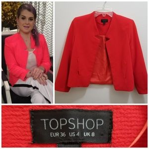 TOPSHOP Crepe Notch Neck Jacket in Red
